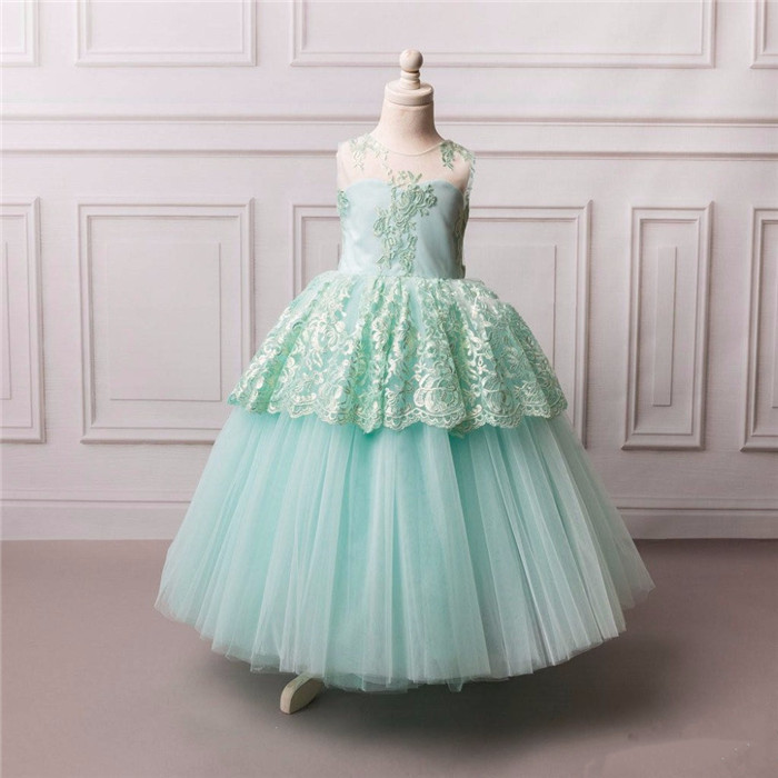 flower girl dress lace appliques tulle sheer neck open back kids beauty pageant party dress with bow vestido sheer neck lace beaded new flower girl