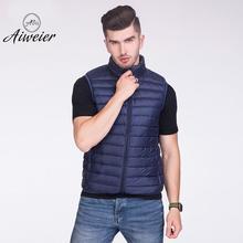 [Aiweier] Для мужчин пуховик тонкий жилет на молнии без рукавов Стенд воротник свободно жилет мужской Корейский ультра Легкие куртки ALMM01