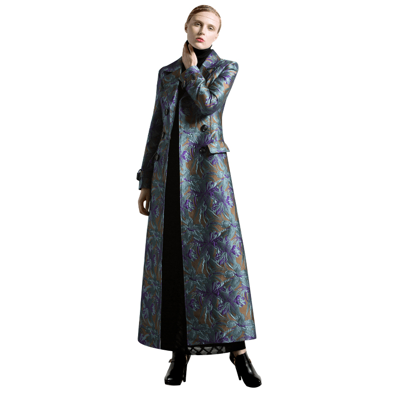 S-XXXL Autumn Winter Jacquard Long Coat Florals Plus Size Luxury Trench Women Double Breasted Muslim Style Outwear Coat