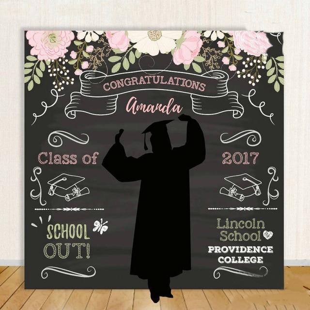 custom High School Graduation Step Flower Leaves Black backdrop High quality Computer print party photo studio background