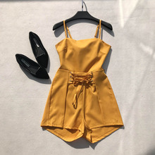 NiceMix New Summer Rompers Womens Jumpsuit Slim Sexy Spaghetti Strap Solid Beach Wear Bohe Playsuits Girls Backless Bow Bodysuit