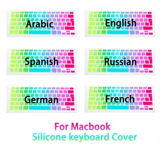 Dégradé arc - en - étanche ue / UK disposition clavier protecteur autocollants peau pour Macbook Pro 13 15 17 Retina и Air 13