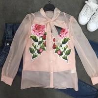 Dressnow elegant blouse summer 2018 floral print blouse women long sleeve blouse shirt women