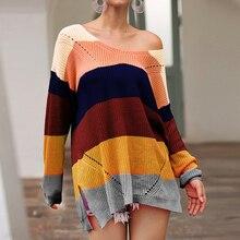 купить!  Женские многоцветные полосатые свободные вязаные пуловеры Новая мода Slim Fit Сплит V-образным вырез Лу�