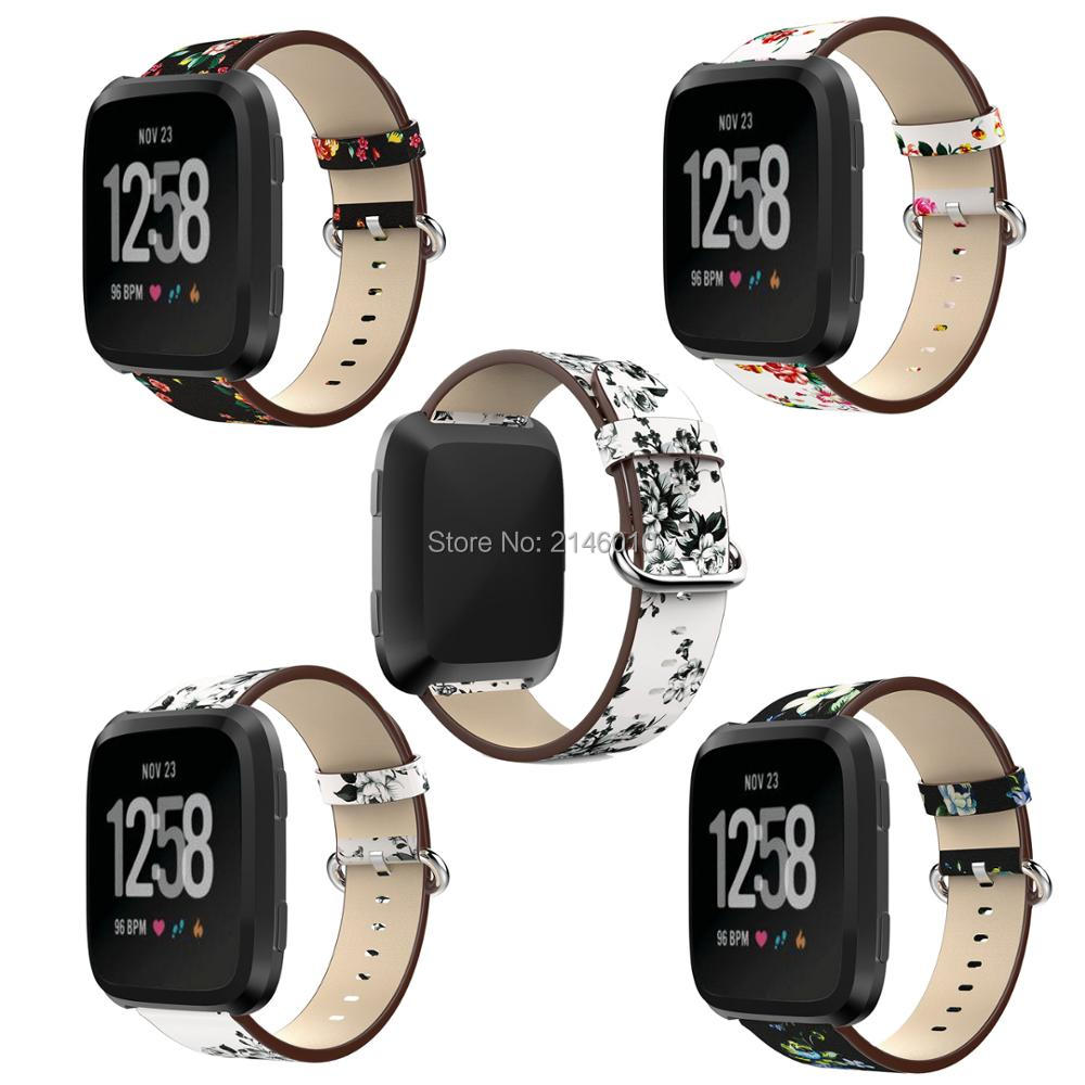 Replacement 22mm Watchband Fation Leather Peony Flower Pattern Printing Strap Wristband For Fitbit Versa Smart Fitness Watch