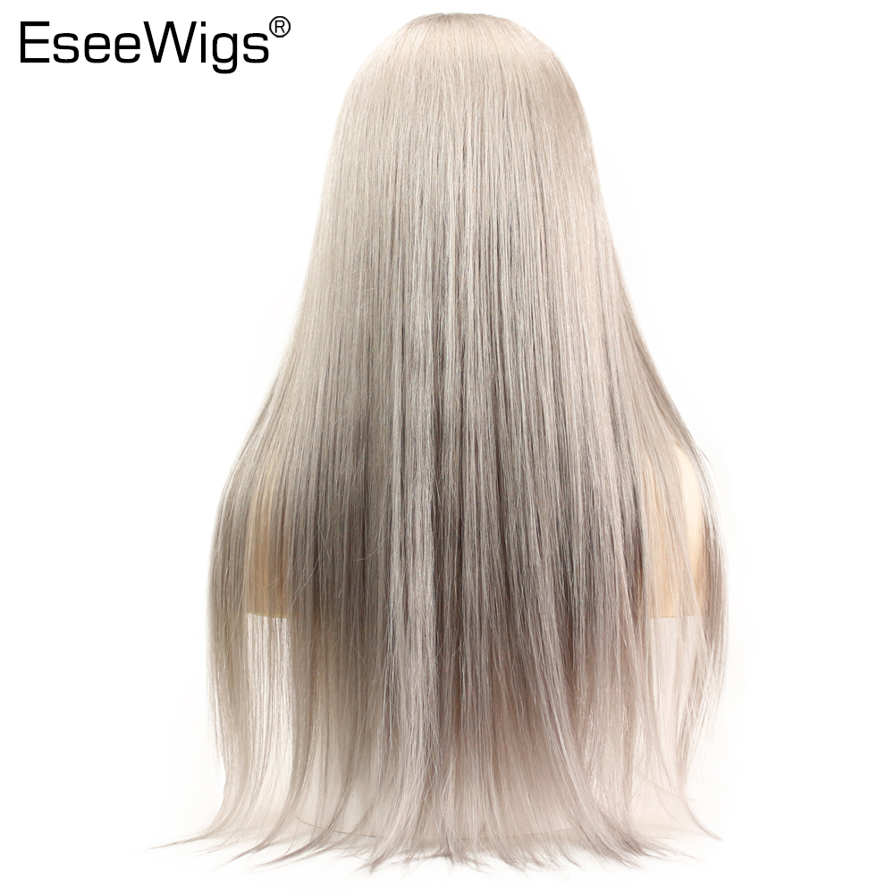 Eseewigs Grey Lace Front Wig 13x6 Human Hair Straight Full Lace Wigs Silver Grey Brazilian Remy Hair For Women With Baby Hair