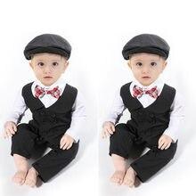 Bebé recién nacido Caballero traje Formal mameluco mono Tuxedo traje bebé  ropa de algodón bebé niños Set Full Sleeve Rompers con. 4d75da44e71