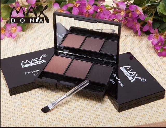 3 Color Eyebrow Powder Palette Cosmetic Brand Eye Brow Enhancer Professional Waterproof Makeup Eye Shadow With Brush Mirror Box 3