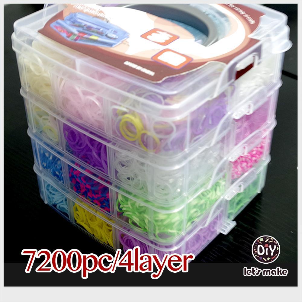 Faisons 7200 pc/4 couche gomme pour bracelets haute qualité silicone métier à tisser bandes boîte famille set recharges caoutchouc fou amusant enfants cadeau