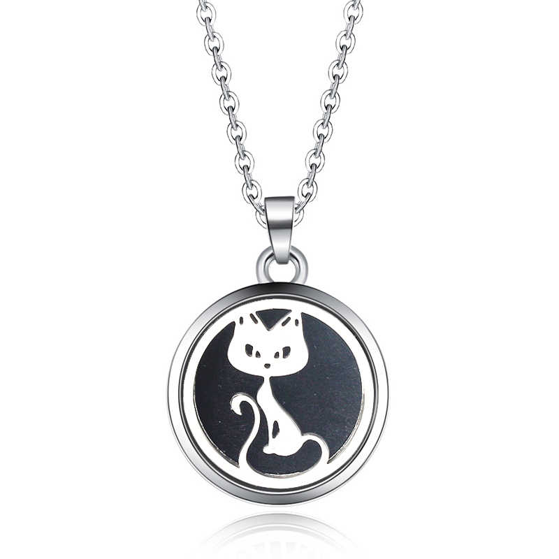 Sexy Cat Aroma Box Pendant Necklace Magnetic Aromatherapy Essential Oil Diffuser Perfume Box Locket Pendant Fine Jewelry 27mm