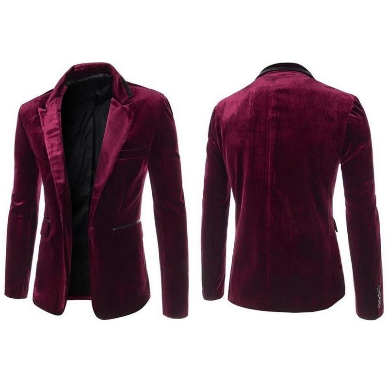 Suits jacket fashion casual jacket velvet men's clothing suit vintage red men's suit jacket black purple suit jacket 1
