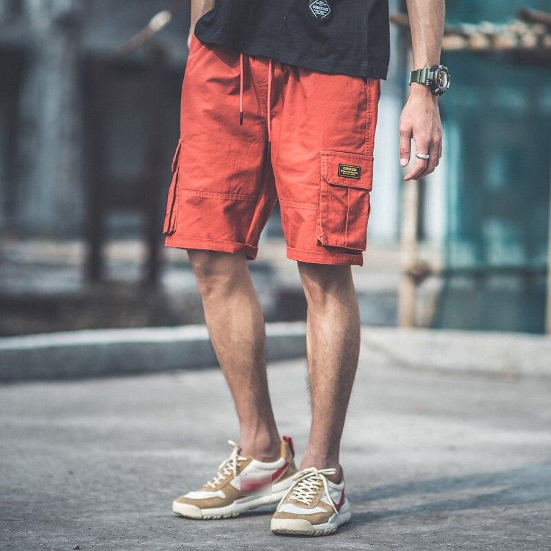 shorts mens street loose summer knee length cargo short with pockets cotton 3XL baggy hip pop pantalones cortos hombre casual