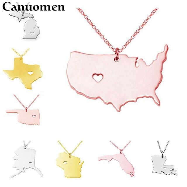 Michigan And Ohio Map.Us States Map Pendant Necklaces Texas Michigan Minnesota Idoha