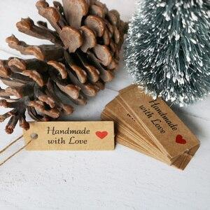 100 шт. крафт-бумажные этикетки с завязками ручной работы с надписью «Love», этикетки для одежды для конфет, подарков, печенья, Упаковочная этикетка, карта