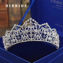 HIBRIDE Luxury Headband Noble AAA Cubic Zircon Crown And Tiaras For Bridal Shiny Hair Accessories Wedding Jewelry Gifts  C-61