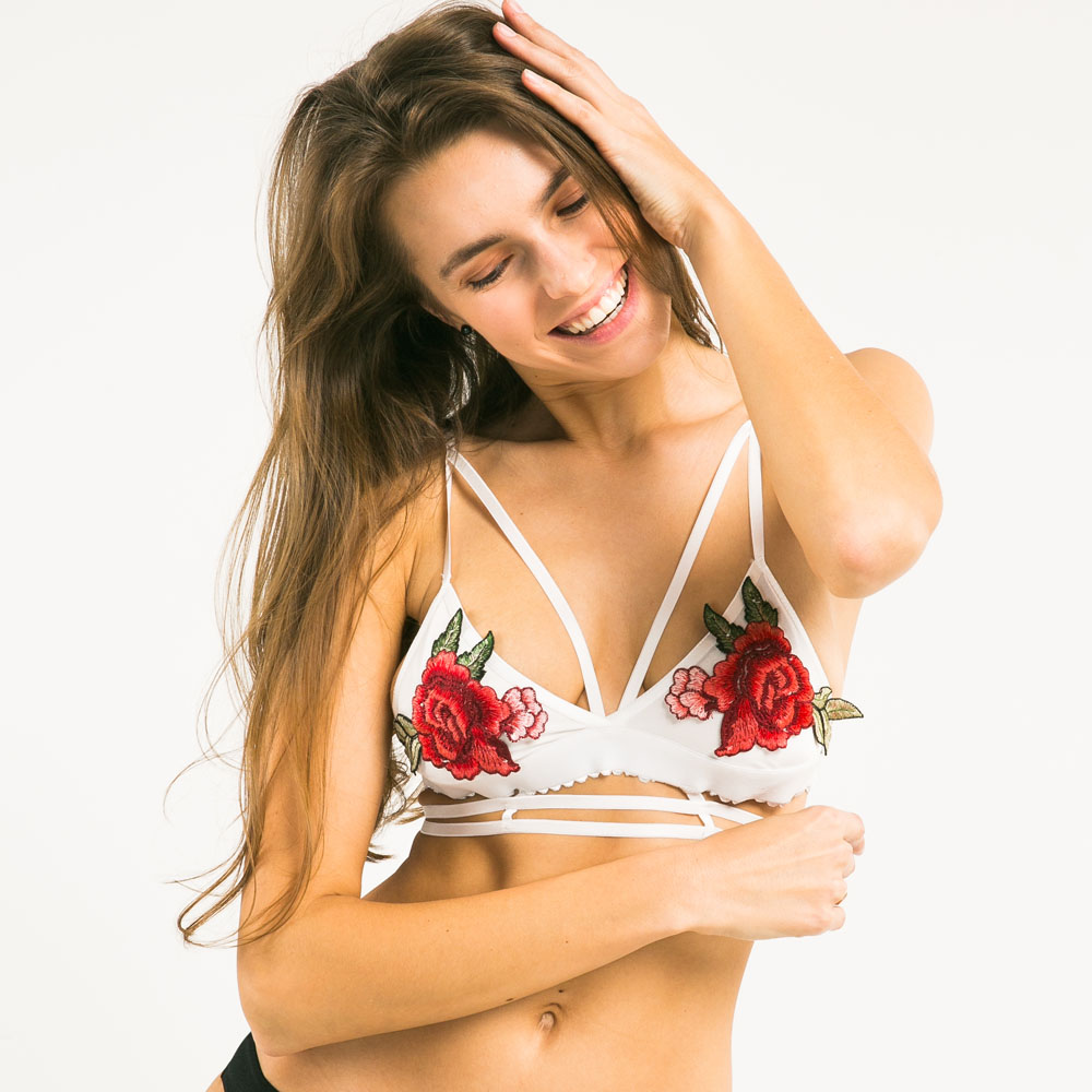 3e460b1c2bd Missomo White Floral Printed Bra Women Sexy Push Up Embroidery Wireless Female  Bralette Underwear Soft Breathable