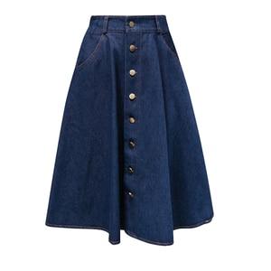 Image 4 - Женская джинсовая юбка, однотонная длинная юбка в Корейском стиле с высокой талией и широким подолом, Повседневная Джинсовая юбка на пуговицах, B82806A, 2018
