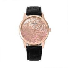 Высокое качество FHD часы женщины мужчины подарок Ретро Листья цветка дизайн Кожаный Ремешок Аналоговый Сплава Кварцевые Наручные Часы оптом Свободная s