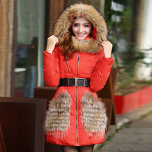 Korean New Fashion Winter Jacket Women 2016 Large Raccoon Fur Collar Hooded Jacket Thick Coat For Women Outwear Parka