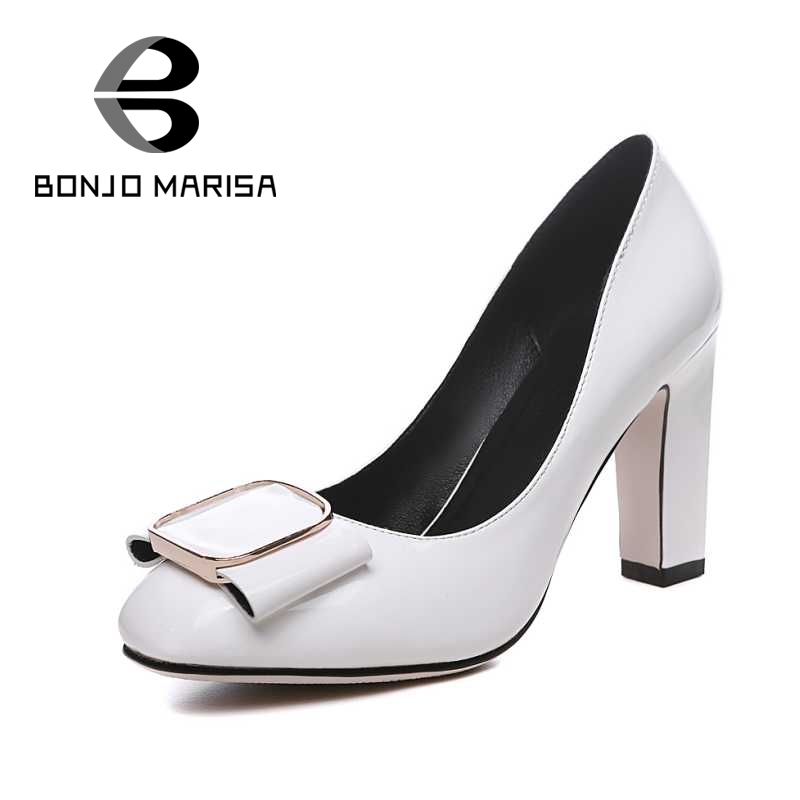 ФОТО BONJOMARISA Plus Size 32-42 Fashion Women Office Lady Shoes Gladiator Square High Heels Bowtie Less Platform Pumps