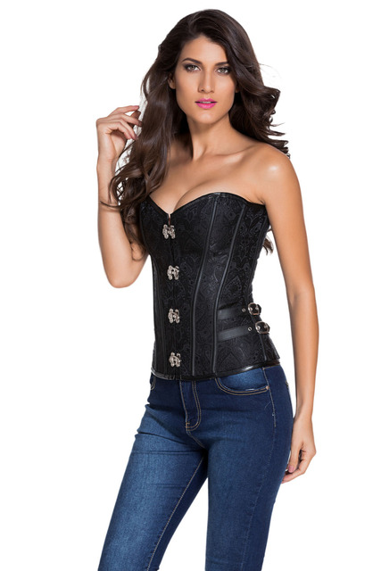 2016 New Summer Women's Sexy 2pcs 14 Steel Bones Buckle Sides Lace up Black Purple Overbust Corset LGY50002