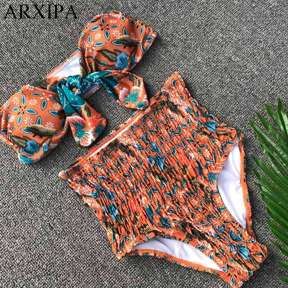 ARXIPA Sexy High Waist Bikini Set Seersucker Women Swimsuit Ruched Swimwear Knot Bow Bathing Suit Print Bandeau Tube 2019 Retro