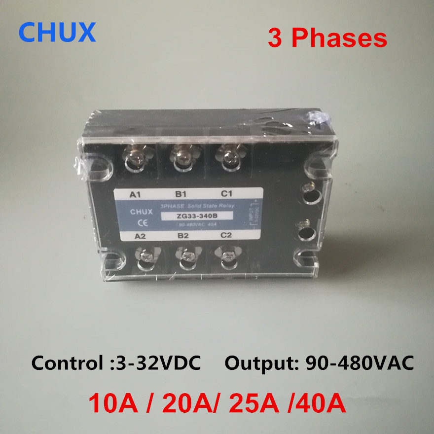 CHUX three Phase Solid State Relay 10a 25a 40a 50a 90-480VAC ZG33 3-32VDC DC to AC 3SSR Relay dc to ac solid state relay ssr 40a 3 32vdc 90 480vac w aluminum heat sink