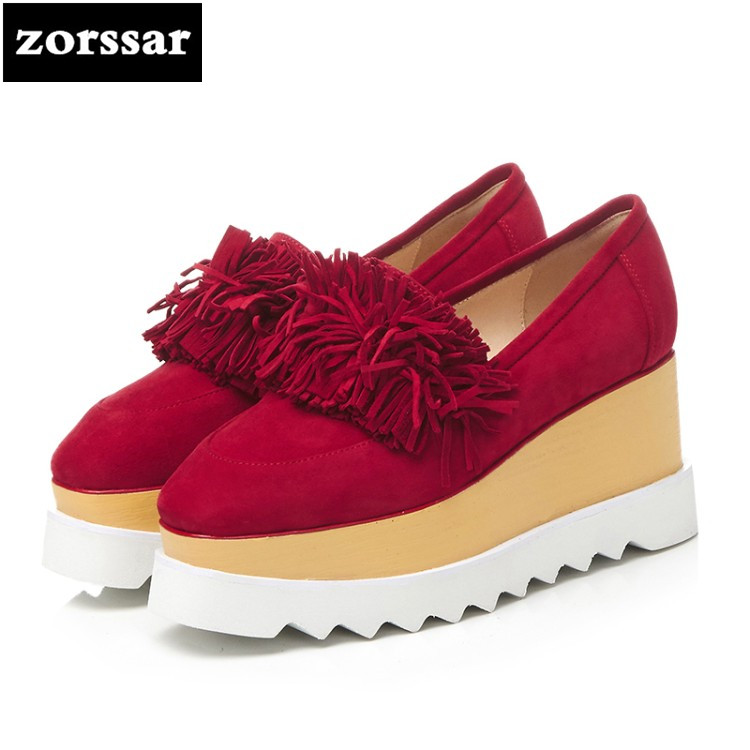 {Zorssar} 2018 New Suede creepers shoes woman Round toe Wedges High heels Platform pumps Fashion tassel Casual Ladies Shoes akexiya 2017 suede gladiator sandals platform wedges summer creepers casual buckle shoes woman sexy fashion high heels