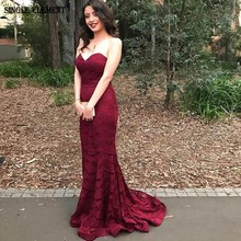 New Arrival Burgundy Mermaid Cut Evening Dress Plus Size Lace