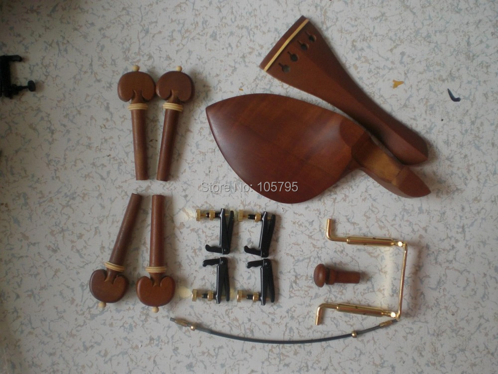 5 Set Jujube Violin parts with Tail piece chin rest peg and end pin Fine tuner tail guts and chin rest clampl all in 4/4 original thomastik vision titanium solo vit100 violin strings full set medium with ball end full set made in austria