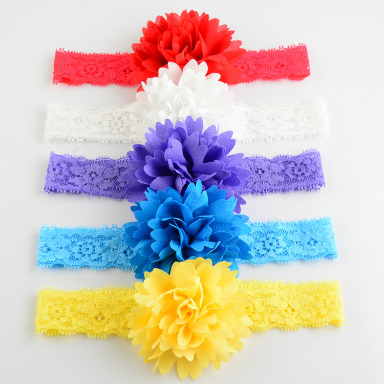 14.2 Inch 60pcs/lot 12Color Big Lace Flower Elastic headband With flower for girl Hair Alloy Rhinestones New girl Headware FDA91