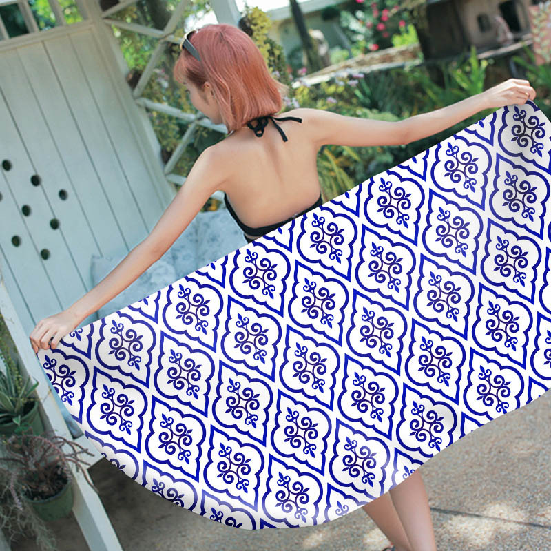 New Ins Style Bath Towel Beach Microfiber Digital Printed Picnic Blanket Swimming Pool Mats Seaside Towels