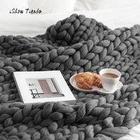 2018熱い販売毛布100*120センチ手分厚いニット毛布厚いウールかさばる編スローファッションぬくもり毛布寝室用