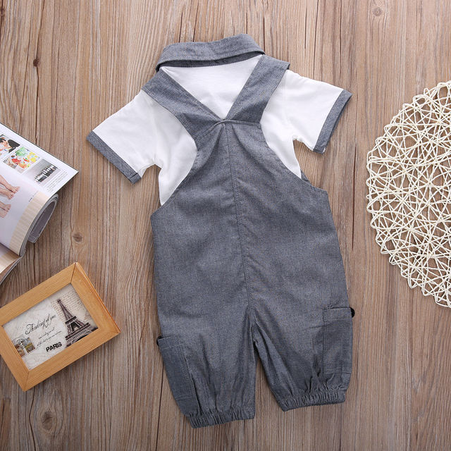 Newborn Baby Boys Shirt +suspender Pants Gentleman Cotton baby clothing Sets Summer Toddler Infant Boy Outifits Set 5