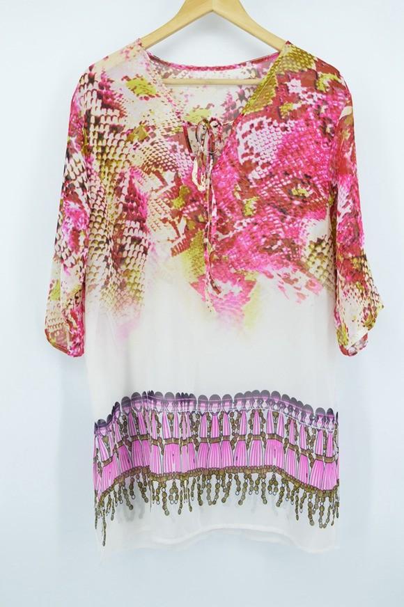 New Arrivals Beach Caftan Swimsuit Cover up Print Chiffon Pareo Women Robe Plage Swimwear Dress Sexy Sarong Beach Tunic #Q152 16
