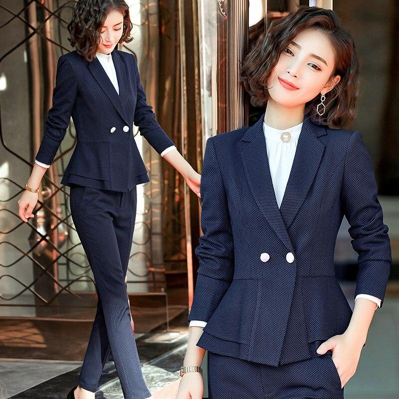 Ensemble femme 2019 printemps et automne nouvelle saison mode tempérament petit costume deux pièces vêtement professionnel à pois vêtements pour femmes