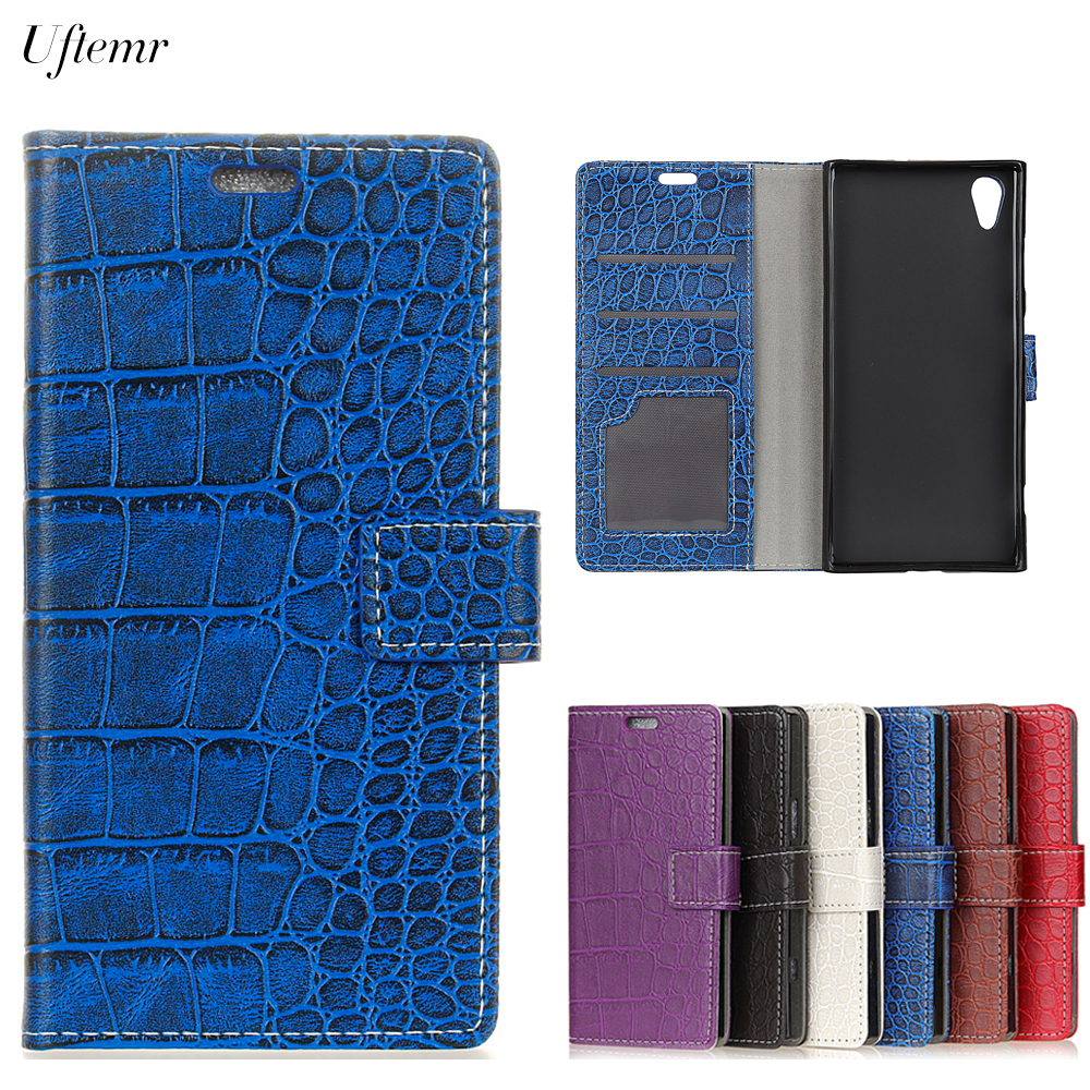 Uftemr Vintage Crocodile PU Leather Cover Protective Silicone Case For Sony Xperia L1 Wallet Card Slot Phone Acessories