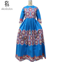 2016 African Cloting Dress For Women Round Collar Long Sleeve Dashiki Batik Printing Bouffancy Maxi Dress