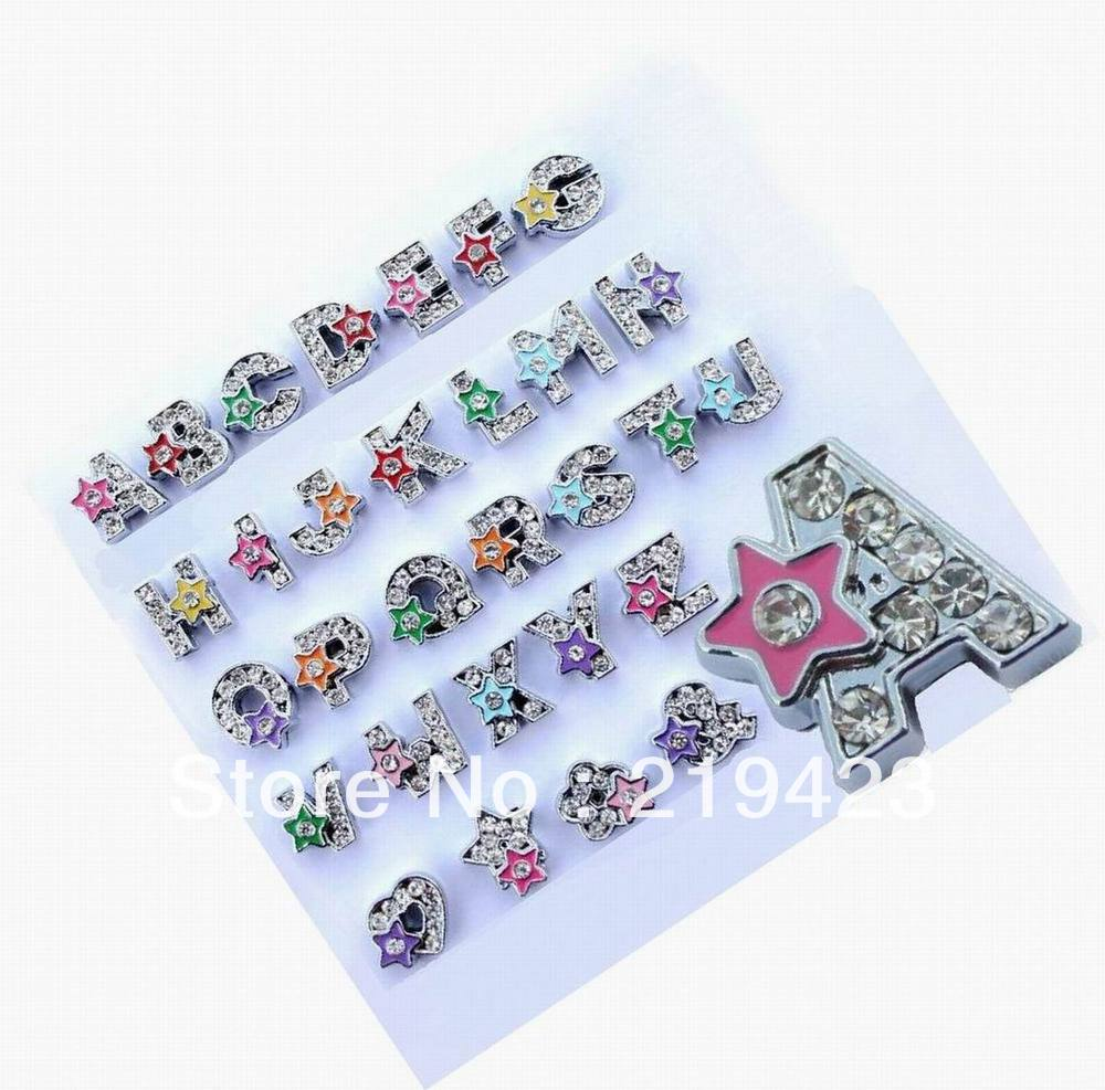 Wholesale 130pcs 8mm A-Z Slide letters with Star Brand New fit pet collars Wristbands and so on