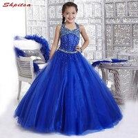 Королевский синий для девочек в цветочек платья для свадеб вечернее Первое причастие Нарядные платья для свадьбы для девочек