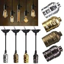 Vintage toma para lámpara edison E27 base de bombilla con tornillo soporte de luz de aluminio Retro Accesorios colgantes Lustre lámpara accesorio sin cable
