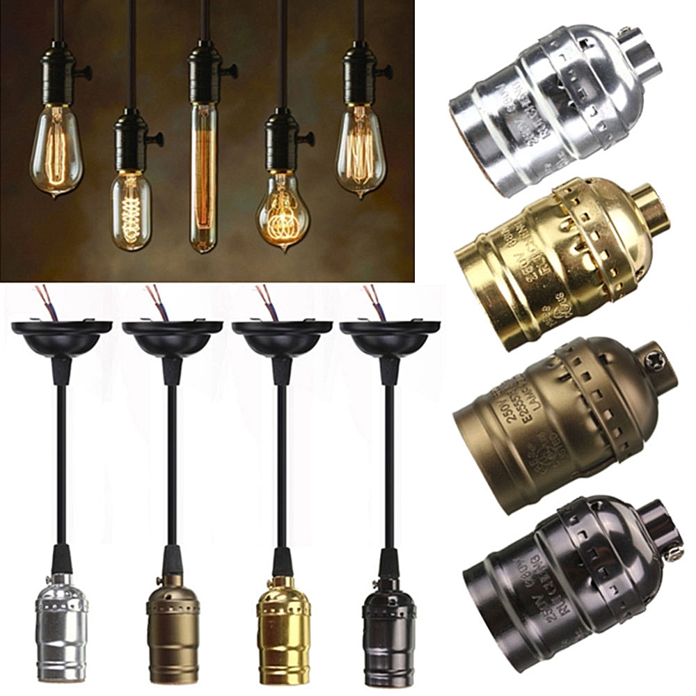 Vintage Edison Lamp Socket E27 Screw Bulb Base Aluminum Light Holder Retro Pendant Fittings Lustre Lamp Fixture Without Wire