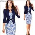 One-piece faux breve casaco elegante padrões de trabalho dress floral lace patchwork bodycon escritório de negócios lápis bainha dress