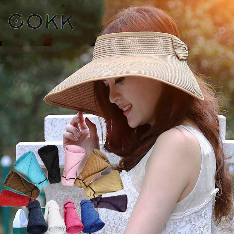 COKK Marke 2017 Neue Frühling Sommer Visiere Cap Faltbare Breiter Großer krempe Sonnenhut Strand Hüte für Frauen Strohhut Großhandel Chapeau