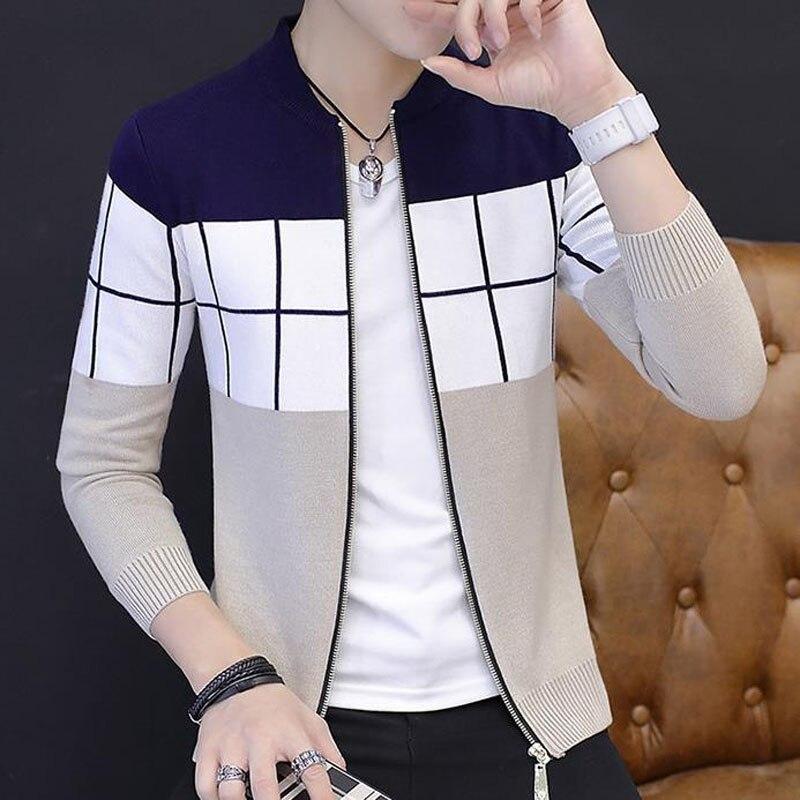 Hommes chandail cardigan zipper 2019 printemps et automne tendance à manches longues mince personnalité mâle tricoté vêtements d'extérieur adolescent garçon