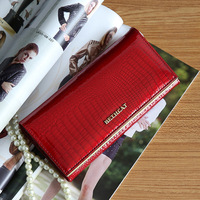 New Arrival Genuine Cow Lether Wallet for Ladies Tri fold Patent Leather Purse Women Large Capacity Small Bags