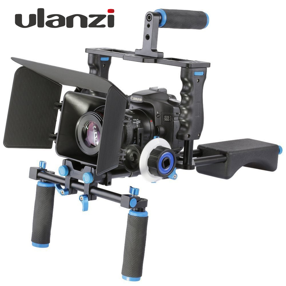 DSLR 4 in 1 Rig Kit Shoulder Video Camera Stabilizer Support Cage / Matte Box / Follow Focus for Canon Nikon Sony Camcorder dslr shoulder rig video camera stabilizer mount support cage rig kit w dual handgrip for canon nikon sony camera camcorder c9093