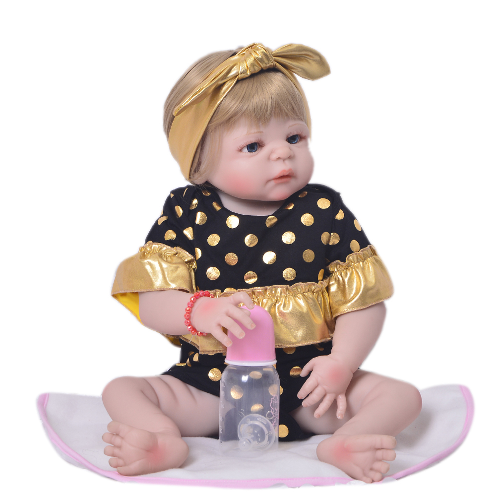 Bebes Reborn  Girl doll 57CM Full Body silicone doll  Reborn Baby Doll Bath Toy  Newborn Princess victoria Bonecas MeninBebes Reborn  Girl doll 57CM Full Body silicone doll  Reborn Baby Doll Bath Toy  Newborn Princess victoria Bonecas Menin