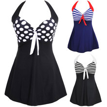 TYAKKVE Sexy One Piece Halter Stripe Padded Skirt Swimwear Plus Size Women Push Up Bathing suit SwimSuit Dress Vintage Monokini