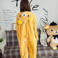 ได้อย่างง่ายดายหมีOnesiesการ์ตูนชุดนอนฤดูหนาวครอบครัวพอดีสัตว์ชุดนอนเหลืองแรคคูนชุดนอนสำหร...